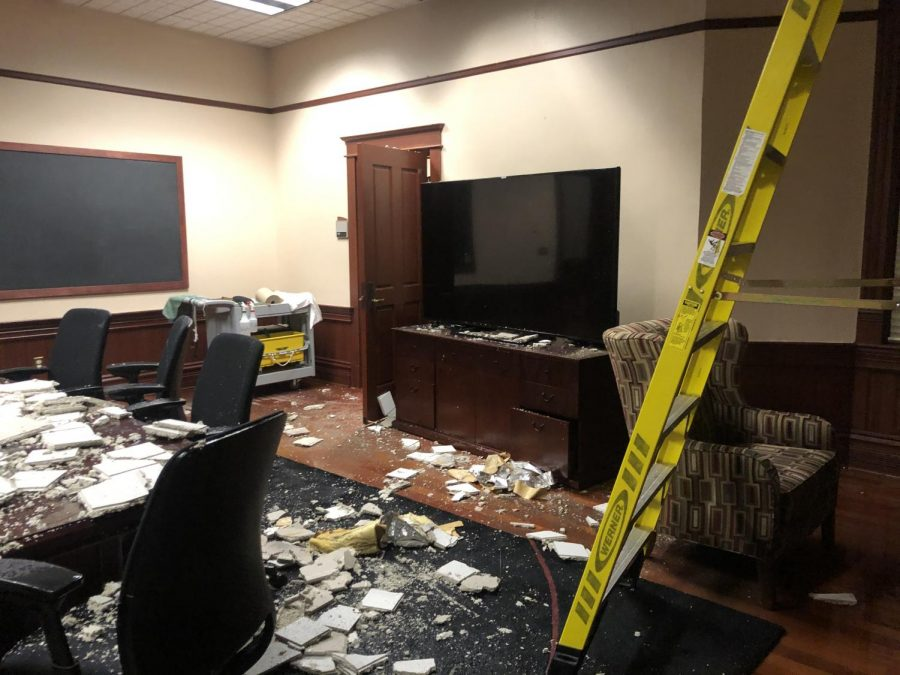 PHOTOS: The damage done by a broken pipe in Barge Hall