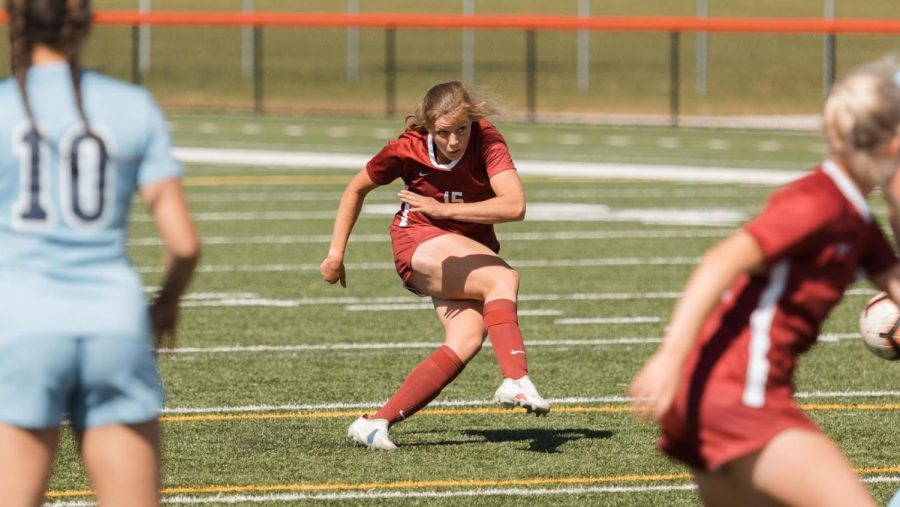 CWU Athletics: Senior Jaymie Woodfill (#15)  scored the only goal for the Wildcats as they fell to WWU 3-1 to end their season with a 2-3 record.
