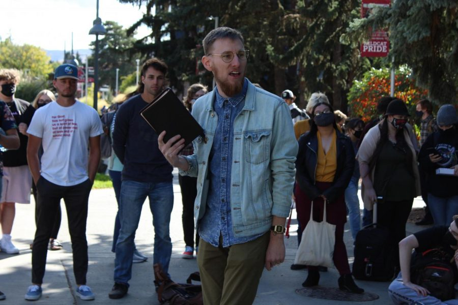Anders Clark, pictured, came to campus with Darrell to preach the same message.